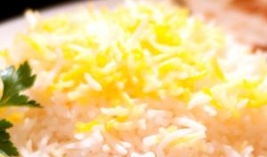 Basmati Rice topped with Saffron infused Rice