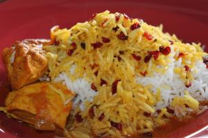 Chicken & Rice Topped with Barberries or Cherries