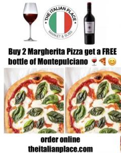 2 Large Margherita Pizza 1 FREE (Red, White or Rose) WINE Special