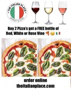 2 Large (Pepperoni, Veggie, Cheese or Nutella) Pizza 1 FREE WINE Special