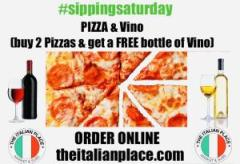 #sippingsaturday 2 Large Margherita Pizza 1 FREE (Red, White or Rose) Vino